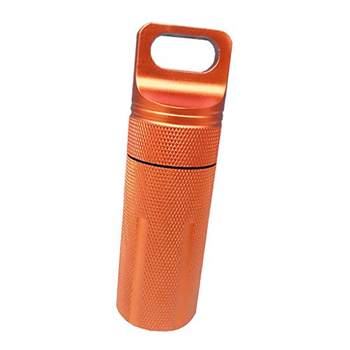 NATFUR Pill Box Case Bottle Holder Waterproof Container Keychain Medicine Capsule Elegant for Women Cute for Men Perfect for Girls for Gift Novelty | Color - Orange