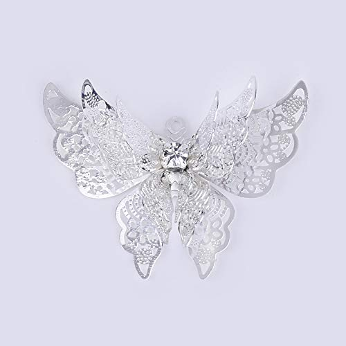 (25x35mm Butterfly Charm,Butterfly Pendant,Hollow Butterfly,Filigree Jewelry Supply,Sold 10pcs/lot,Silver Plated)
