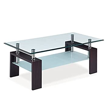 global furniture usa 2tier glasstop coffee table w chrome tubes