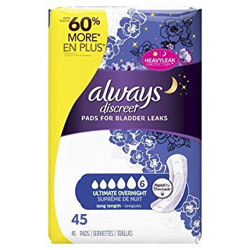 Always Discreet, Incontinence Pads, Ultimate Overnight, Long Length, 45 Count - Pack of 5