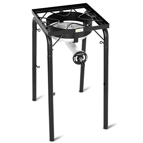 Goplus Outdoor Camp Stove 200,000-BTU Single-Burner Propane Gas Cooker Legs Adjustable Portable Cast Iron Patio Cooking Stove by Goplus