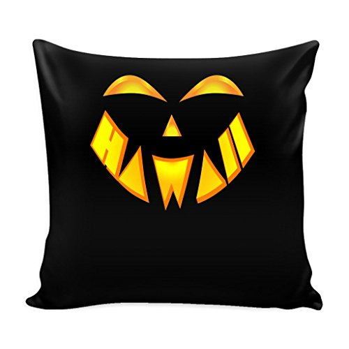 Hawaii State Jack O' Lantern Pumpkin Face Halloween Pillow Case 16 x 16 Pillow Cover with Insert by teelaunch
