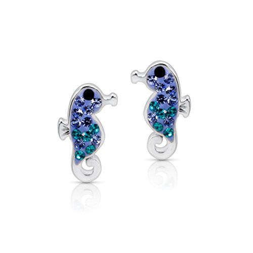 Under The Sea Costume Ideas For Couples (Blue Ocean Crystal Seahorse Earrings Never Rust 925 Sterling Silver Natural and Hypoallergenic Studs For Women and Girls with Free Breathtaking Gift Box for a Special Moment of Love By BLING BIJOUX)
