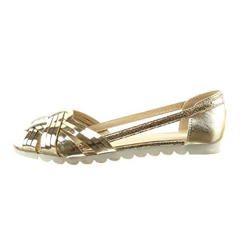Sopily - Scarpe da Moda sandali aperto alla caviglia donna tanga verniciato Tacco a blocco 1 CM - Oro