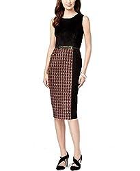 Calvin Klein Womens Knit Faux Suede Wear to Work Dress Black 2
