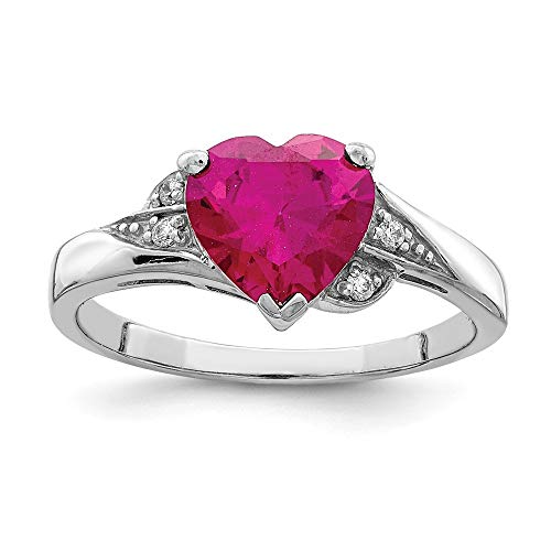925 Sterling Silver Cubic Zirconia Cz Synthetic Red Ruby Heart Band Ring Size 7.00 S/love Fine Jewelry Gifts For Women For Her ()
