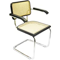 Marcel Breuer Cesca Cane Chrome Arm Chair in Black