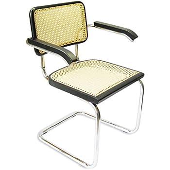 Beau Marcel Breuer Cesca Cane Chrome Arm Chair In Black