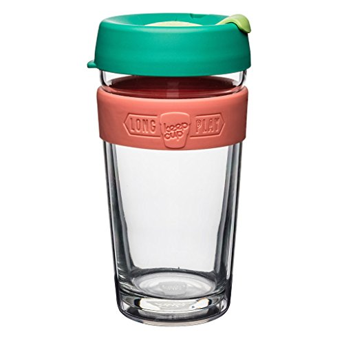 Pack Cup Twin - KeepCup 16oz Reusable Coffee Cup. Toughened Glass Cup With Silicone Band & Clear Plastic Twin Wall. 16-Ounce/Large, Fennel