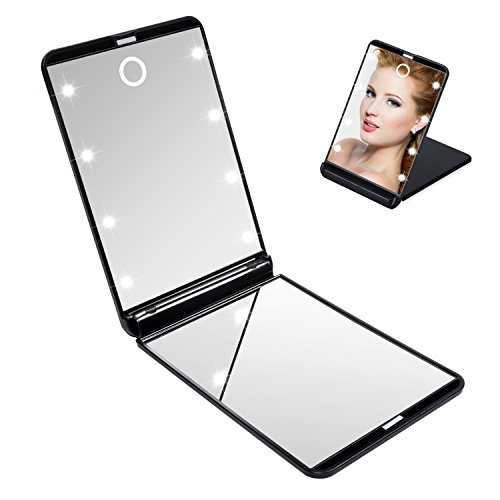 Tobbiheim Makeup Compact Mirror with 8 Dimmable Led Lights, Travel Compact Mirror for Purse with Touch Switch, Portable Folding Cosmetic Mirror Adjustable Brightness Magnification Mirror (Compact Touch Mirrors)