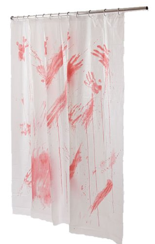 HALLOWEEN BLOODY HANDS SHOWER CURTAIN BRAND NEW SCARY HORROR BATH BATHROOM  DECOR DECORATION