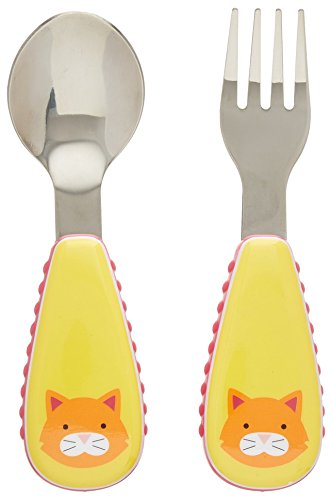 Skip Hop Baby Zoo Little Kid and Toddler Fork and Spoon Utensil Set, Multi Chase Cat