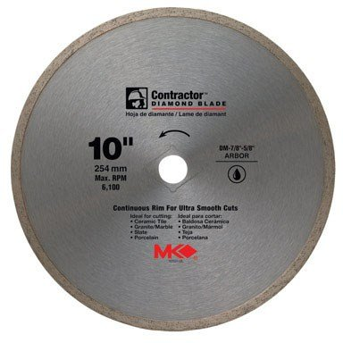 MK Diamond 167031 10'' x 5/8'' Contractor Quality Wet Cutting Continuous Rim Diamond Blade for Tile/Marble