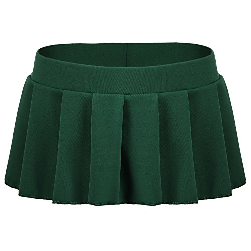 Avidlove Women Role Play Mini Plaid Skirt Polyester Schoolgirl Lingerie Dark Green
