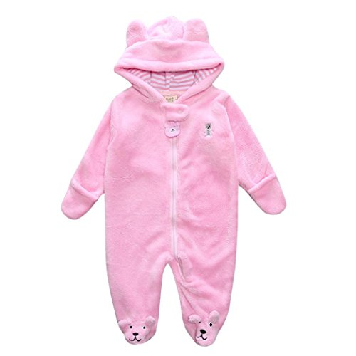 Tenworld Newborn Baby Boy Girl Winter Clothes Bear Ears Hoodie Romper Jumpsuit (6-9 months, Pink)