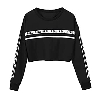 Amazon.com: Women Teen Girls Long Sleeve Striped Crop Top ...