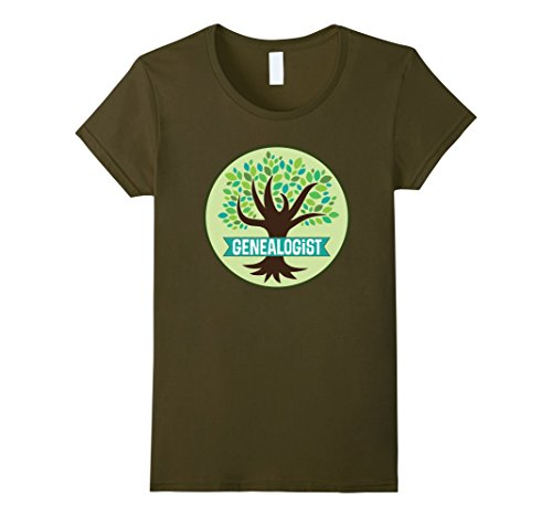 Womens Genealogist Family Tree Genealogy Gift T-shirt Medium Olive
