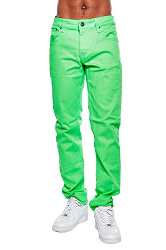 (Victorious Mens Skinny Fit Denim Pants Jeans Brand Basic Slim Cut DL-937 (36/30, Neon Lime))