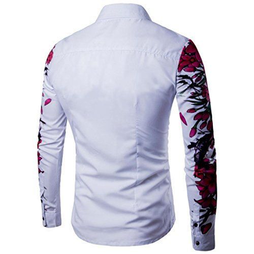 Landfox Camisa de manga larga casual para hombre Camisa de vestir slim fit Camisa estampada Top Z0poLD8