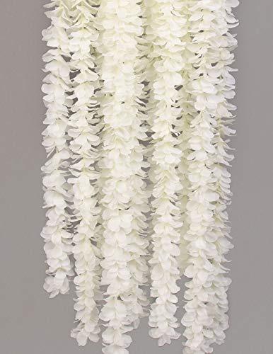 Flojery 32.8Ft Artifiicial Hanging Flower Garland Silk Wisteria Vine Home Wedding Outdoor Arch Garden Wall Decor,Pack of 10 (White)
