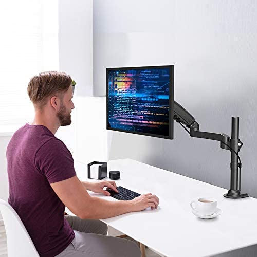 "ErGear 17""-34"" Single Monitor Desk Mount Stand Kit, Full Motion Gas Spring Arms with Clamp On/Grommet Mounting Base, Holds Computer Screen as much as 19.84 lbs/Arm with 75/100mm VESA, Black"