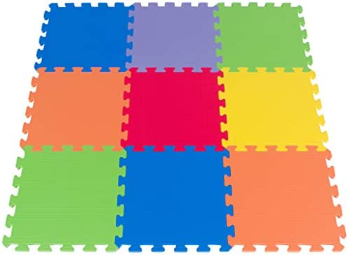Amazon Com Foam Floor Puzzle Playmat For Kids 9 Soft Tiles 6 Bright Colors Made In Taiwan From Quality Foam Interlocking Thick Square Mat Toys Games