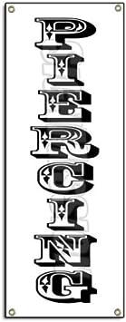 Piercing Vertical Banner Sign Body Art Tattoo Parlour Parlor Pierce Jewelry
