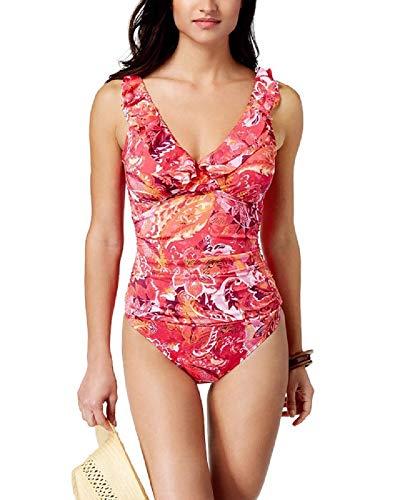 Ralph Lauren Lauren Printed Ruffle Tummy-Control One-Piece Swimsuit