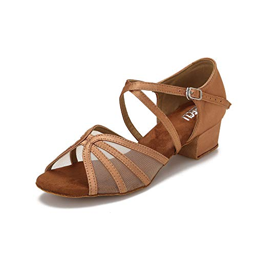 CLEECLI Low Heel Ballroom Shoes Latin Salsa Dance Shoes for Social Beginner Practice Dancing 1.5 Inch Heel ZB14(10,Tan)