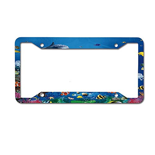 (Mrsangelalouise Sea Dolphin Ocean Animal Fish Coral Reefs License Plate Frame Aluminum Car License Plate Cover Tag 4 Holes and Screws)