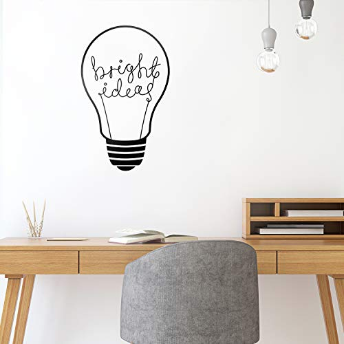 "Vinyl Wall Art Decal - Bright Ideas - 30"" x 18.5"" - Trendy Positive Motivational Light Bulb Design Indoor Outdoor Home Apartment Living Room Bedroom Office Dorm Room Work Quotes Decor"