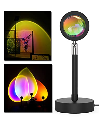 Sunset Lamp Projector,Etiondrm Sunset Projection Lamp Romantic Visual Led Light Sun Sunset Light Projector 180 Degree Rotation USB Charging Night Light Projector for Bedroom/Photography/Selfie