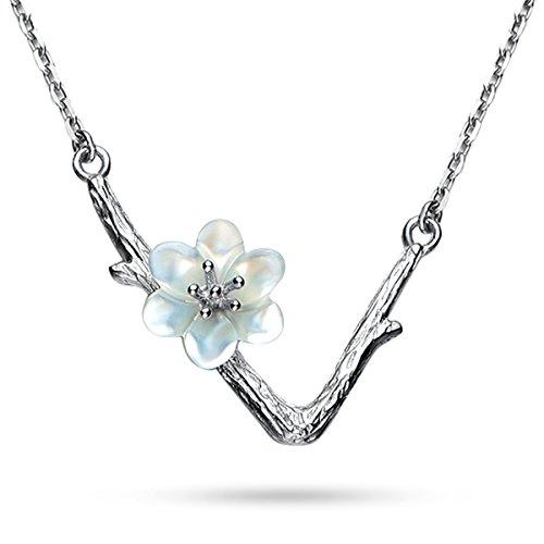 JEWME 925 Sterling Silver Women Sakura Cherry Blossoms Necklace Pendant Nature