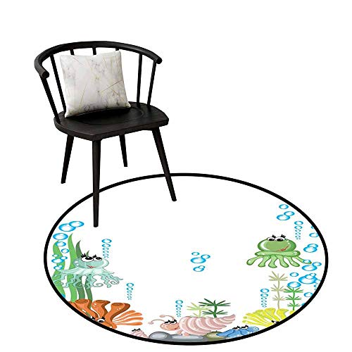 - Round Area Rug Carpet Jellyfish Aquarium with Seashell Octopus Stones Water Bubbles Funny Cartoon Illustration Perfect for Any Room, Floor Carpet D39.3 Blue Green Yellow