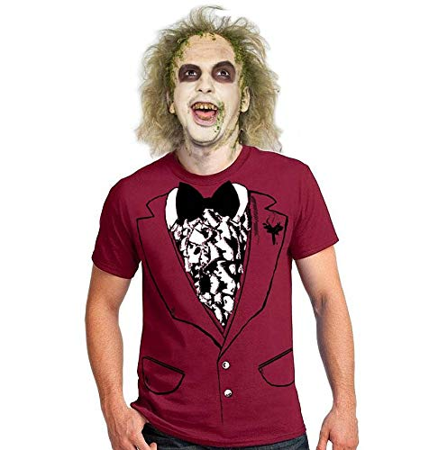 Funny easy BEETLEJUICE style wedding men's halloween costume t-shirt tuxedo shirt dance party Movie beetle juice suit outfit tshirt ()