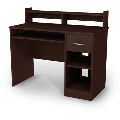 South Shore Axess Desk with Keyboard Tray, Chocolate - Brown Computer Furniture