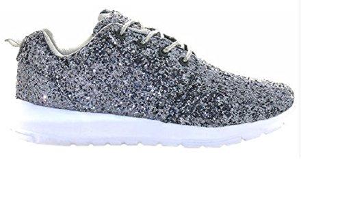 Women's Full Glitter Fashion Comfortable Trainers Sports Fashion New Size 3-8 Grey L1Wqp3Rvu