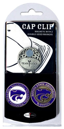 Team Golf NCAA Kansas State Wildcats Golf Cap Clip with 2 Removable Double-Sided Enamel Magnetic Ball Markers, Attaches Easily to Hats