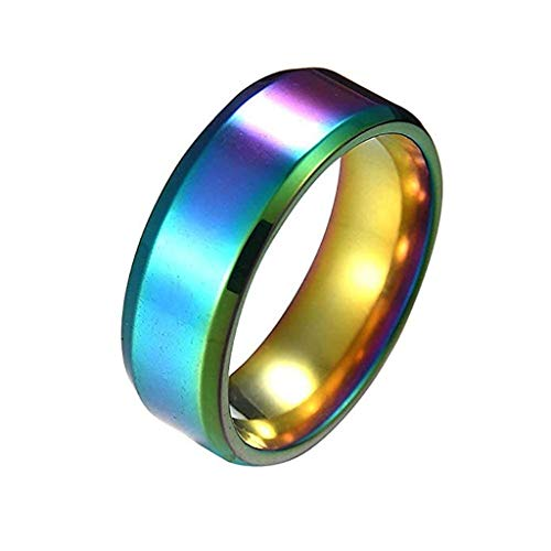 FEDULK Unisex Fashion Simple Rings Lovers Stainless Steel Mirror Finger Rings Jewelry Couple Gifts(12, Multicolor)