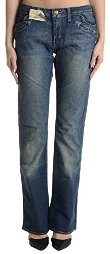 Polo Jeans Co. Women's Wildfire Dakota Distressed Bootcut Stretch Denim, Medium Wash, (Fire Stretch Jeans)