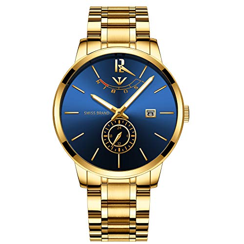 41qqihVH2gL. SS500  - NIBOSI Mens Analogue Quartz Watch with Stainess Steel Strap Top Brand Luxury Business Quartz Watch Men Full Steel Fashion Waterproof (Gold Blue)