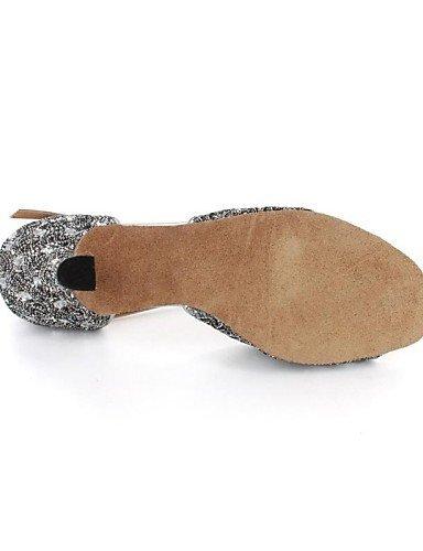 Zapatos pfennig Brillantes Glitter latin shangyi gris baile tacón baile de de Buckie Mujeres Zapatos Sandalias xY4q4wzdaS