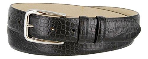 Leather Skinny Calf Belt (Hagora Men's Eclectic Skin Textures Genuine Italian Calfskin Leather Buckle Belt,Alligator Black 32)
