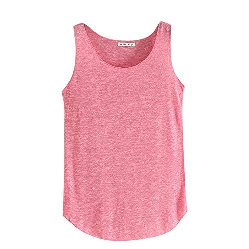 Sunhusing Women's Summer Solid Color Bamboo Cotton Slim Vest Round Neck Sleeveless Bottoming Shirt Hot Pink -