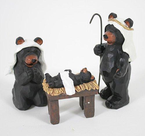 Black Bear Nativity Set 3 Pc Figurine Set
