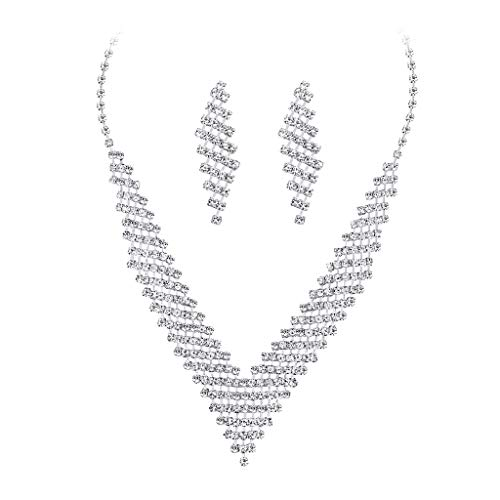HCDjgh Long Necklaces for Women Bohemian Plating White Gold Clip Drill High-Gradecopper Necklace Exaggeration Earrings Set