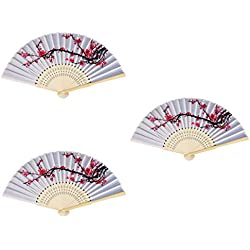 3 Pack Chinese style Delicate Cherry Blossom Design Folding Hand Fan for Wedding Dancing Party Favors Gifts