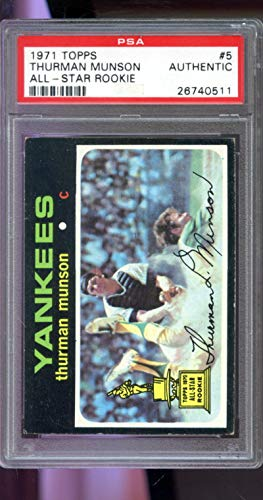 1971 Topps #5 Thurman Munson All Star Rookie Yankees PSA AUTHENTIC Graded Baseball Card