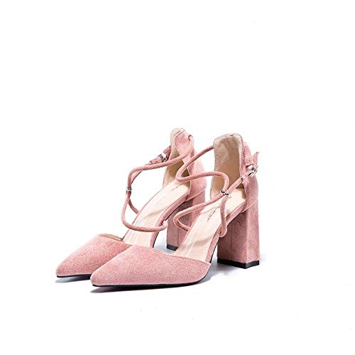 With Pink Yukun Shallow Single Heeled Bridesmaid High Autumn Gentle Girl Wild Pointed Wind Female High Shoes Mouth heels Shoes RqRFU0Y