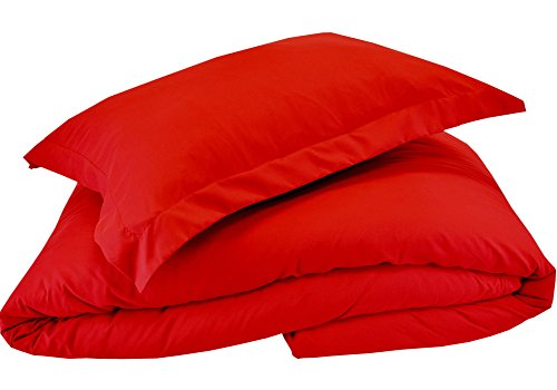 Mezzati Luxury Duvet Cover 2 Piece Set - Soft and Comfortable 1800 Prestige Collection - Brushed Microfiber Bedding (Red, Twin/Twin XL Size)